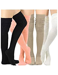 Teehee Women's Fashion Extra Long Cotton Thigh High Socks - 4 Pair Pack