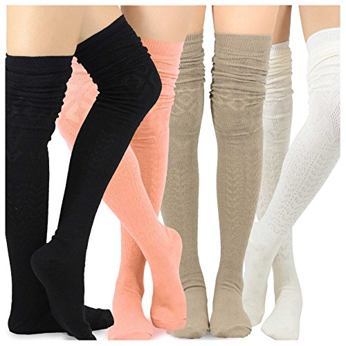 Teehee Women's Fashion Extra Long Cotton Thigh High Socks - 4 Pair Pack (Pointelle Over The Knee Sock)