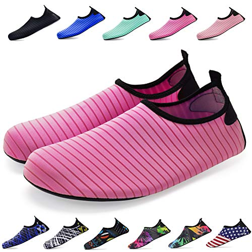 Bridawn Water Shoes for Women and Men, Quick-Dry Socks Barefoot Shoes for Swim Yoga Beach Surf Aqua Sports, Rose, M ()