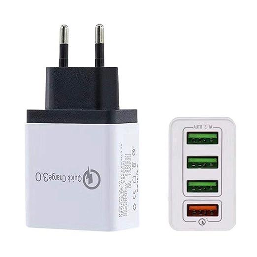 shewt Cargador USB de 4 Puertos Carga rápida QC3.0 Smart ...