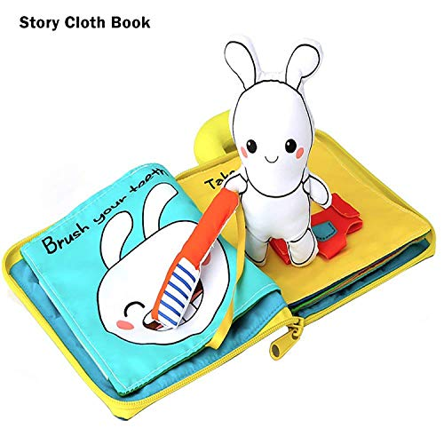 beiens Cloth Books, Soft Baby Activity Book About 8 Night Routines Quiet Felt Books for Toddlers 1-3 Year Old Babies Learning and Sensory Toys for Training Life Skills and Early Development