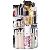 JSBelle Organizador de Maquillaje, 360 Grados de rotación Organizador de Maquillaje Caja de Almacenamiento de cosméticos multifunción Ajustable (Circulo Transparente)