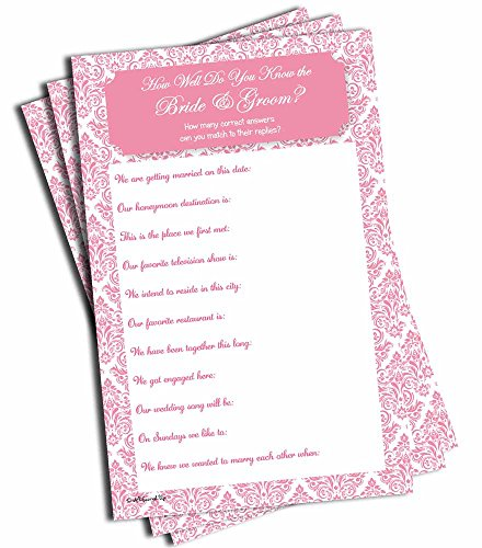 How Well Do You Know the Bride and Groom - Bridal Shower - Wedding - Pink Damask (50-sheets) -