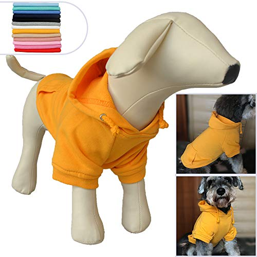 Lovelonglong Pet Clothing Clothes Dog Coat Hoodies Winter Autumn Sweatshirt for Small Middle Large Size Dogs 11 Colors 100% Cotton 2018 New (M, Orange)