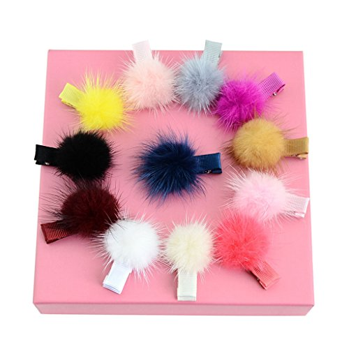 Lulujan Rainbow Fur Ball Pompom Hair Clips Set Mini Alligator Hair Pins Hair Barrettes (12-Pack)