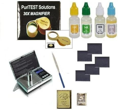 PuriTEST Precious Metals Acid Test Kit New Electronic Jewelry Scale 30x Loupe Professional Jewelers Test Equipment Plus FREE 5gr Gold Buffalo Bar Replica!