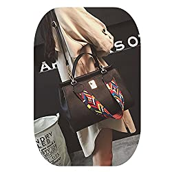 Ftsucq Womens Leather Retro Shoulder Handbags Casual Totes Messenger Bag Hobos Black Satchels