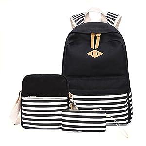 Abshoo Causal Canvas Stripe Backpack Cute Lightweight Teen Backpacks For Girls School Bag Set (Black Set)