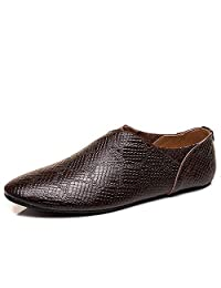 Hora de meipa Zapatos Holgados Estilo Oxford con diseño de Serpiente para Hombres sin holgazán de Cuero sin Punta de Trabajo.