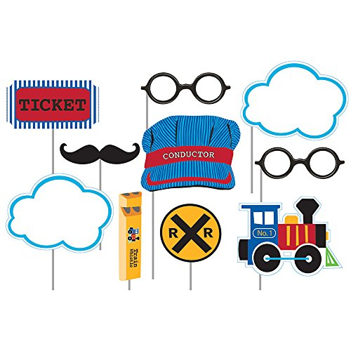 Creative Converting 324348 Assorted Photo Booth All Aboard Party Props (10 Piece), Multisizes, Multicolor - Thomas Conductor Train