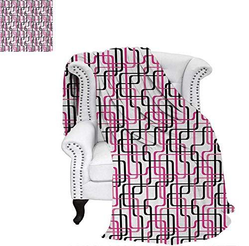 Velvet Plush Throw Blanket Sixties Inspired Wavy Lines