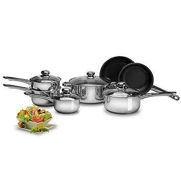 Purelife 11 piezas en acero inoxidable cocina juego de ollas con macetas y Eclipse antiadherente sartenes