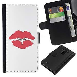 For LG G3 Case , Kiss Lips Red Minimalist White - la tarjeta de Crédito Slots PU Funda de cuero Monedero caso cubierta de piel