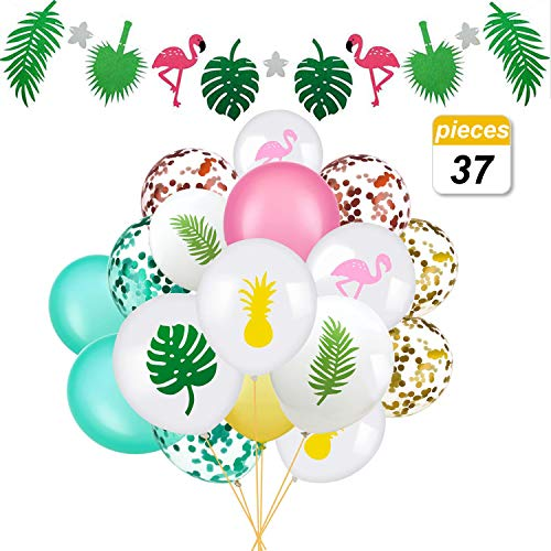 Hawaii Party Decorations 37pcs, Flamingo Banner & Flamingo Tropical Leaf Pineapple Balloons with Round Confetti for Hawaii Luau Party Decorations
