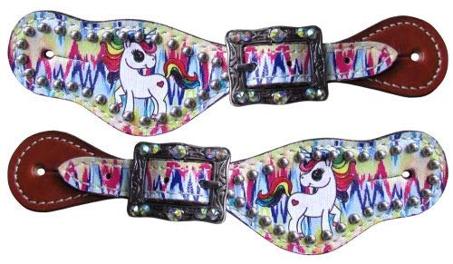 Showman Youth Size Leather Spur Straps w/Rainbow Unicorn Overlay & Rhinestones! New! ()