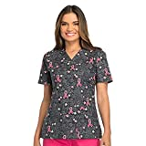 Dickies EDS Signature by Women's V-Neck Ribbon Print Scrub Top Small Print