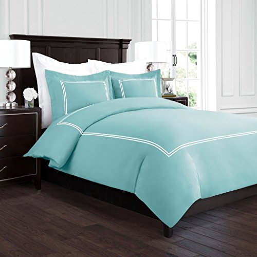 Aqua King Duvet - Beckham Hotel Collection Luxury Soft Brushed 2100 Series Embroidered Microfiber Duvet Cover Set with Beautiful 2-Stripe Embroidery - Hypoallergenic - King/California King - Aqua/White