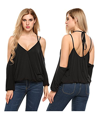 Pleated Wrap Top Shirt - Dealwell Women's Wrap Top Pleated Shirt Sexy V Neck Cut Out Open Shoulder Straps Blouse (Black XL)