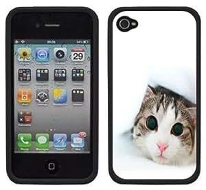 Cute Kitty Kittens Handmade iPhone 4 4S Black Hard Plastic Case