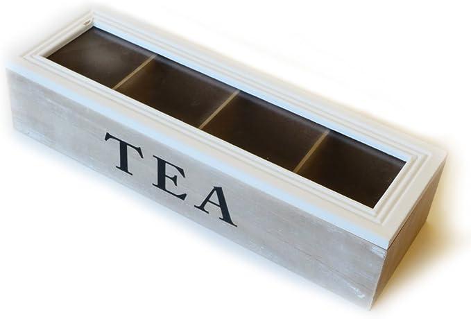 Caja de té de 4 compartimentos 34 x 11 x 8 cm | Caja para guardar ...