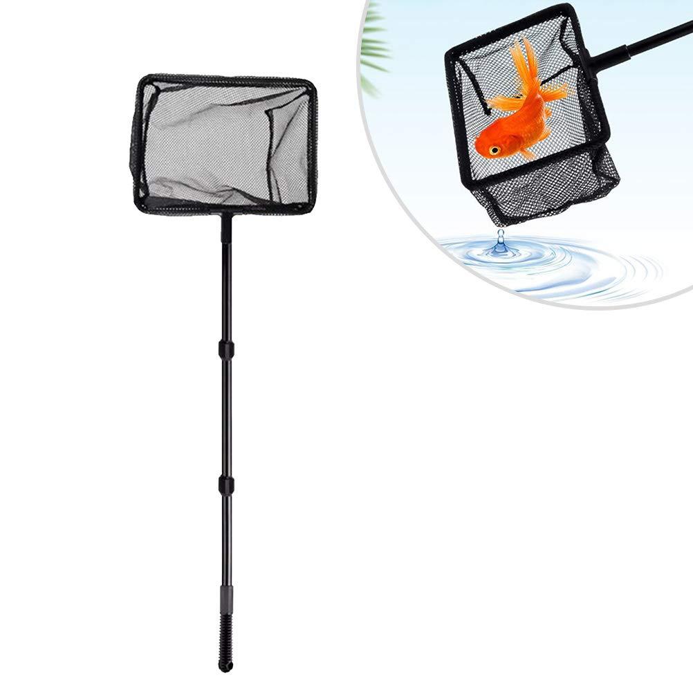 POPETPOP Extendable Fishing Net Plastic Pole Handle Telescopic Landing Net Tuck Net for Fish Tank Lakes Ponds Size S
