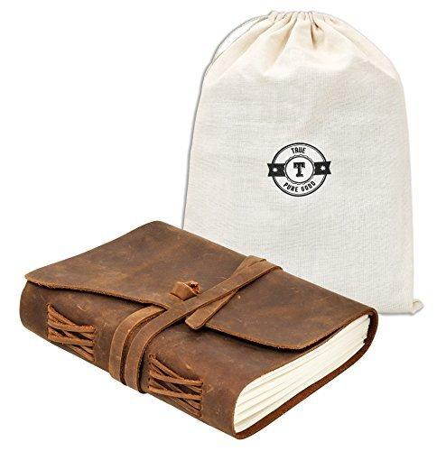 Agenda de viaje de piel auténtica en bolsa de regalo de lino con un 20% más de páginas que la mayoría de alternativas y...