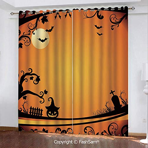 Thermal Insulated Blackout Curtains Halloween Themed Image Eerie Atmosphere Gravestone Evil Pumpkin Moon Decorative Window Curtains for Living Room(55