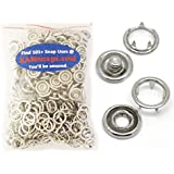 100 Sets (400 Pcs) KAMsnaps Lead Tested Size 16 (7/16 Inch) Open-Ring Cap Gripper Grip Prong Metal Snaps No-Sew Button Fasteners Studs Baby Bibs (Sz16 Silver)