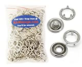 100 Sets (400 Pcs) KAMsnaps® Lead Safe Size 14 (9mm) Open-Ring Cap Gripper Grip Prong Metal Snaps No-Sew Button Fasteners Studs (Silver)