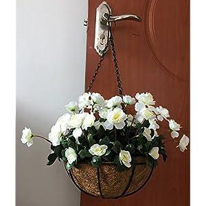 Lopkey Outdoor Artificial Red Azalea Bush Flower Patio Lawn Garden Hanging Basket Chain Flowerpot 4