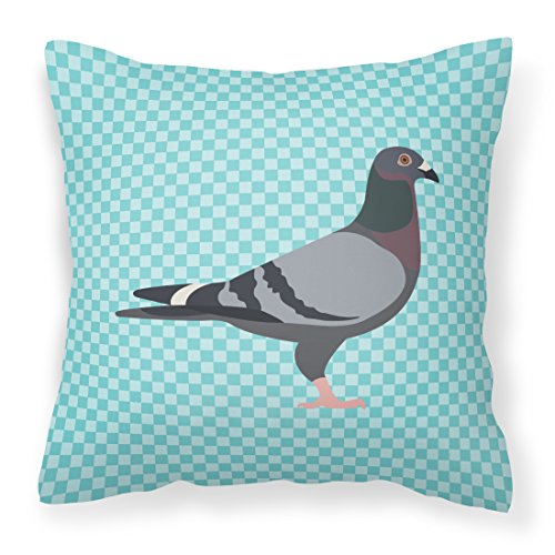 Pigeon Pillow - Caroline's Treasures BB8125PW1818 Racing Pigeon Blue Check Outdoor Canvas Fabric Decorative Pillow, Multicolor