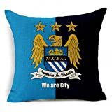 E-sunshine® Thick Cotton Blend Linen Square Throw Pillow Cover Decorative Cushion Case Pillow Case 18 X 18 Inches / 45 X 45 cm, New Football Club Badge (Manchester City)