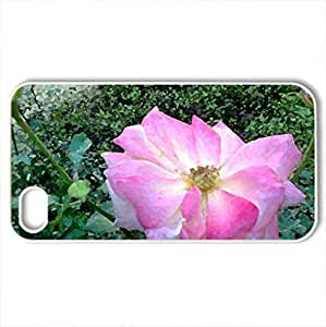Beautiful Pink Rose - Case Cover for iPhone 4 and 4s (Flowers Series, Watercolor style, White)