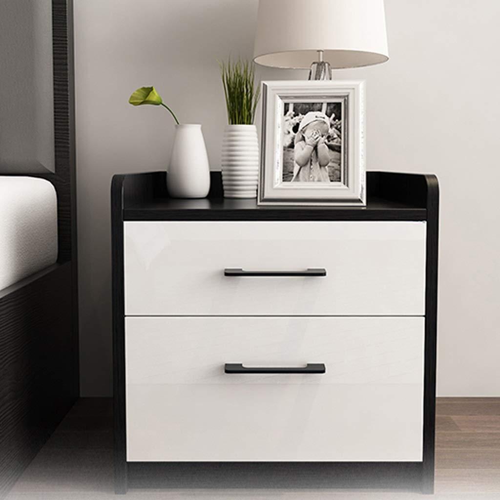 JSSFQK シンプルでモダンな黒と白のマッチングベッドサイドテーブル多機能収納キャビネット小さなサイドキャビネット 虫眼鏡   B07QT753QJ