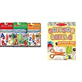 Melissa & Doug On the Go Water Wow! Activity Book, 3-Pack - Animals, Alphabet, and Numbers with Melissa & Doug Scissor Skills Activity Book With Pair of Child-Safe Scissors (20 Pages) Bundle