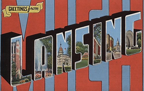Greetings from Lansing, Michigan (36x54 Giclee Gallery Print, Wall Decor Travel Poster) (Park Lansing Anderson)