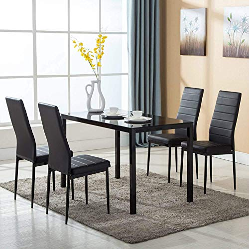 Mecor Dining Chairs Set Of 4 Kitchen Leather Chair With: 4Family 5PC Dining Table Set 4 Chairs Glass Metal Kitchen
