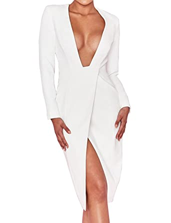 ba7b2defeb43 UONBOX Women s Elegant Plunge V Neck Cocktail Party Bandage Wrap Crepe  Dress with Front Split (