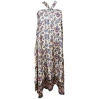Women's Vintage Wrap Skirt Two Layer Vintage Sari Reversible Beach Dress (White)