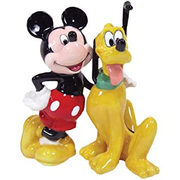 Westland Giftware Magnetic Ceramic Salt and Pepper Shaker Set, 4-Inch, Disney Mickey and Pluto BFF, Set of 2