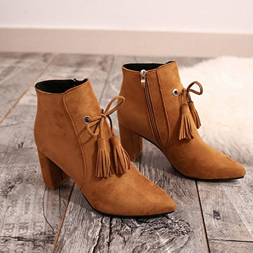 Malloom® Stiefel Damenmode Heels Gelb Wild Casual Square Tassel Stiefeletten xw6AqOx