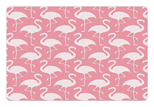 - Lunarable Flamingo Pet Mat for Food and Water, Exotic Flamingo Pattern Silhouette in Monochrome Modern Style Artwork Print, Rectangle Non-Slip Rubber Mat for Dogs and Cats, Pink and White