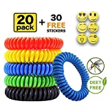 COSYWORLD Mosquito Repellent Bracelet 20 Pack with Free 30 Patches, Insect & Bug