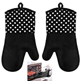 Silicone Oven Mitts - Black 1 Pair of Extra Long Professional Heat Resistant Potholder Gloves - Oven Mitt Set of 2