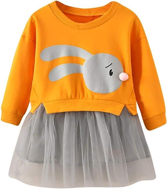 sunnymi 1-5 Jahre Baby M/ädchen Sweatshirt Kleid Cartoon Bunny Prinzessin Patchwork T/üll Kleidung