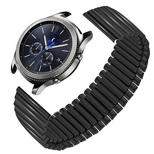 Gear S3 Bands,Stainless Steel Stretch Watchband 22mm for Samsung Classic/Frontie Gear S3 Galaxy Watch 46mm Stainless Elastic Watch Band Gear,2 R380 R381 R382 Smartwatch,Metal Strap Black