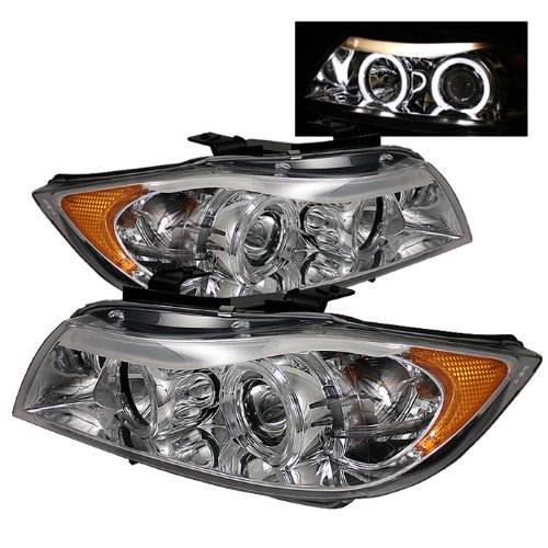 BMW E90 3Series 4DR Projector Headlights LED Halo Amber Reflector Replaceable Eyebrow Bulb Chrome Housing With Clear Lens