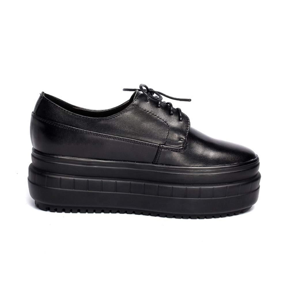 YAN Damenplattform Schuhe Neue Frühlingsmode-Spitze bis Lederschuhe Wanderschuhe Loafers Outdoor-Wanderschuhe,schwarz,39