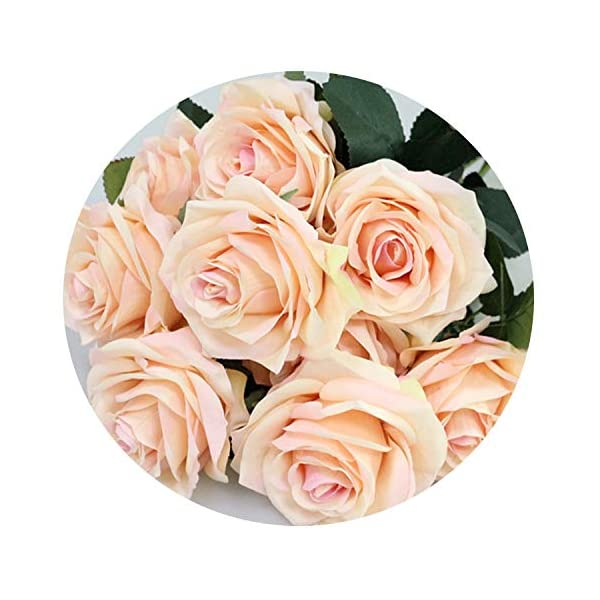 Zalin Artificial Silk 1 Bunch French Rose Floral Bouquet Fake Flower Arrange Table Daisy Wedding Flowers Decor Party Accessory Flores,Champagne