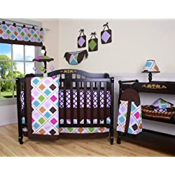 Boutique Pink Brown Diamond 13PCS CRIB BEDDING SET